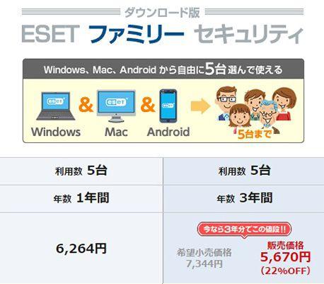 ESETセキュリティソフト-ファミリー 価格